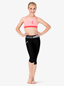 Girls Workout Logo Print Waistband Capri Leggings