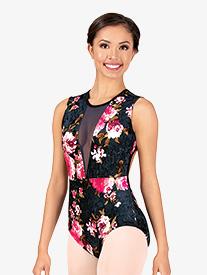Womens Velvet Blossom Floral Tank Leotard