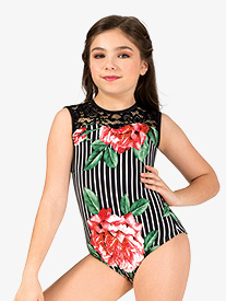 Girls Oversized Floral Stripe Tank Leotard