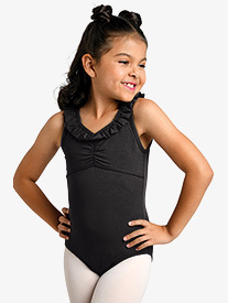 Girls Ruffle V-Front Tank Leotard