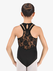 Girls Lace Back Racer Back Leotard