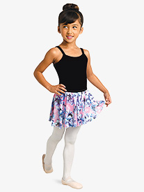 Girls Floral Print Pull-On Ballet Skirt