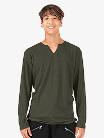 Mens Slub Long Sleeve V-Cut Crew T-Shirt