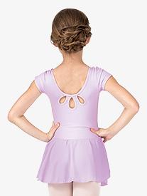 Girls Short Sleeve Rhinestones Trim Dress
