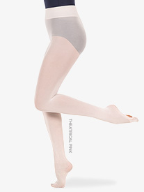 Womens Plus Size Nylon Smooth Waist Convertible Dance Tights