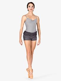 Adult Stripe Knit Roll Down Warm Up Shorts
