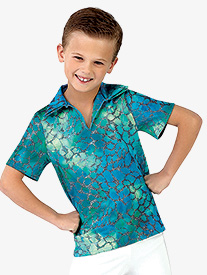 Mens Under The Sea Character Dance Costume Short Sleeve Top