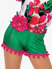 Girls Caribbean Jam Character Dance Costume Pom-Pom Trim Shorts