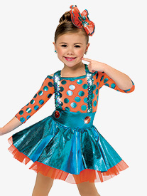 Girls Birthday Surprise Dance Costume Polka Dot Dress Set