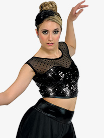 Girls Paris Dotted Mesh Short Sleeve Performance Crop Top