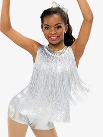 Girls Euphoria Dance Costume Fringe Shorty Unitard Set