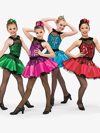 Womens Cmon Everybody Dance Costume Sequin Tutu Dress