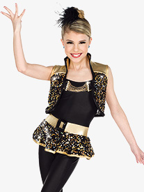 Womens Rebel Metallic Sequin Dance Performance Set