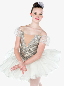 Girls Solitaire Lace Ballet Performance Tutu Dress