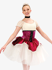 Girls Paquita Velvet Dance Performance Dress Set