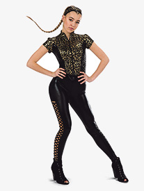 Womens The Middle Leopard Print Dance Performance Top
