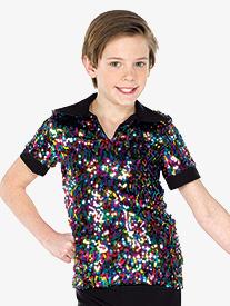 Mens Performance Multicolor Sequin Short Sleeve Top