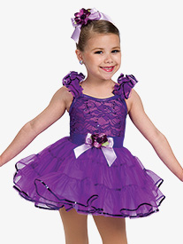 Girls Dimples Flutter Sleeve Dance Performance Tutu Dress