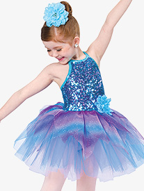 Girls Happiness Halter Dance Performance Tutu Dress