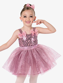 Girls Tutu Time Metallic Ballet Performance Tutu Dress