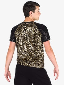 Mens The Middle Leopard Print Dance Performance Top