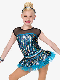 Girls No Better Feeling Short Sleeve Dance Performance Tutu Dress