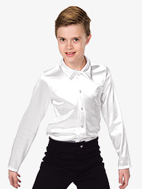 Boys Satin Long Sleeve Dance Performance Top