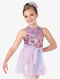 Girls Parachutes Velvet Dance Performance Tank Dress