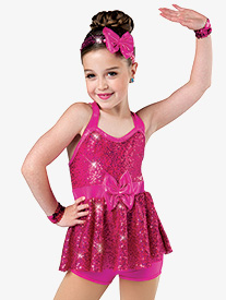 Girls Melodies Sequin Dance Performance Shorty Unitard