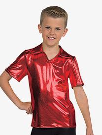 Boys Performance Metallic Collared Short Sleeve Top