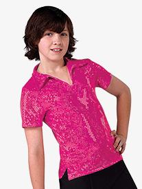 Boys Performance Sequin Dot Short Sleeve Top