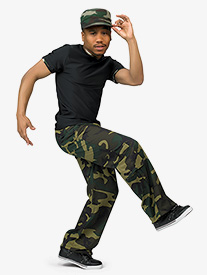 Boys Camouflage Print Performance Dance Costume Pants