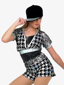 Child Hologram Metallic Short Sleeve Costume Unitard