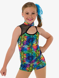 Child We Got Fun Neon Asymmetrical Costume Unitard