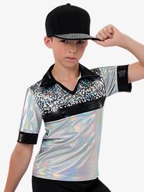 Boys Hologram Collared Metallic Costume Shirt