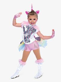 Girls Last Unicorn Sequin Shorty Unitard Character Costume Set