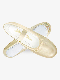 Child Gold/Silver Leather Full Sole Ballet Shoes