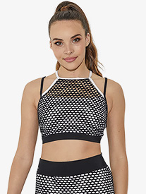 Womens Netted Mesh Camisole Dance Bra Top