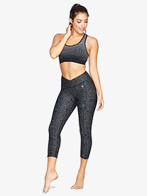 Womens V-Front Satellite Print Workout Capri Leggings