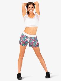 Womens Paradise Print Athletic Shorts
