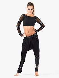 Adult Unisex Harem Pants with Pleather Trim