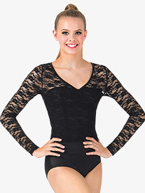 Adult Lace Long Sleeve Bodysuit