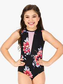 Girls Blossom Floral Tank Leotard