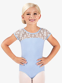 Child and Toddler Floral Lace Cap Sleeve Leotard