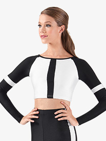 Adult Two-Tone Long Sleeve Crop Top