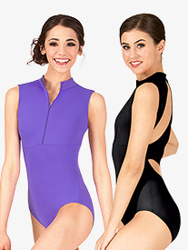 Womens Compression High Neck Zip Front Tank Leotard