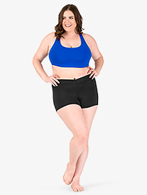 Womens Plus Size Team Basic Compression V-Front Dance Shorts