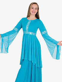 Girls Lace Insert Drapey Metallic Worship Tunic