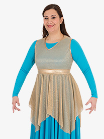 Girls Metallic Micro Pleated Worship Tunic