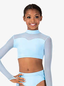 Child Mock Neck Long Sleeve Crop Dance Top